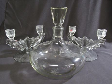 3 Piece Vintage Cut Glass Lot