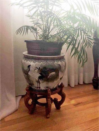 Oriental Planter Vase w/stand
