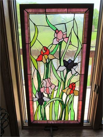 Striking Floral Leaded Stained Glass Window