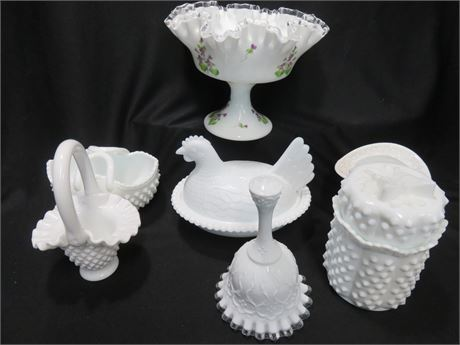 Assorted Milk Glass Lot with Fenton