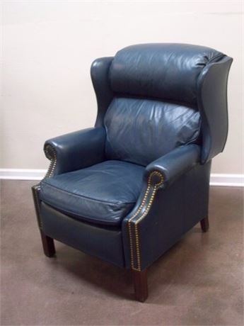HANCOCK AND MOORE BLUE LEATHER RECLINING WING-BACK FIRESIDE CHAIR