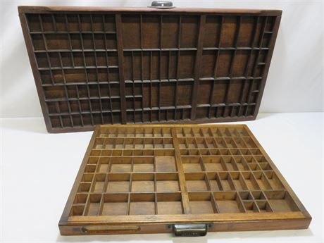Vintage Letterpress Type Tray Drawers