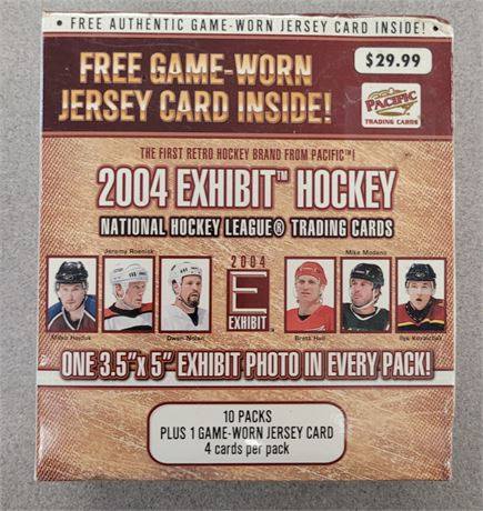 2004 EXHIBIT HOCKEY HOBBY BOX WITH FREE GAME-WORN JERSEY CARD