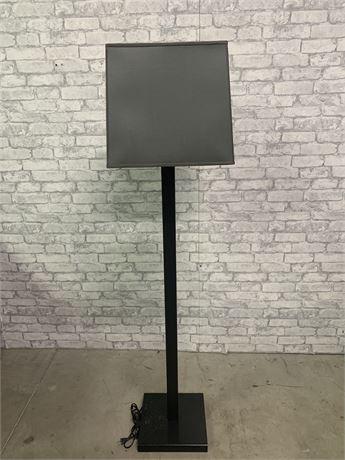 Black Metal Base, Square Shade, Floor Lamp