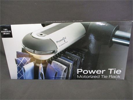 SHARPER IMAGE POWER TIE MOTORIZED TIE RACK - NEW IN THE BOX