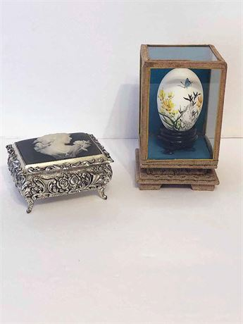 Vintage Cameo Music Box & Painted Egg Shell