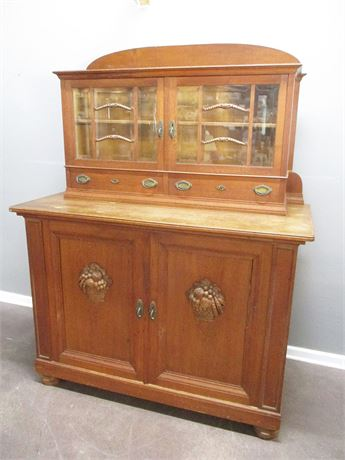 VINTAGE CABINET WITH CARVED ACCENTS