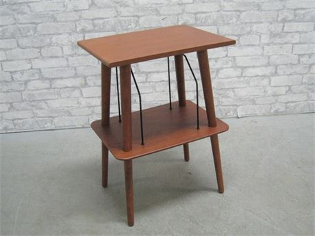 SIDE/OCCASIONAL TABLE WITH RECORD STORAGE/RACK