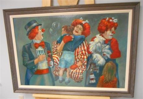 SIGNED FRAMED OIL ON BOARD - 3 CLOWNS AND A PUPPET  - JOHN E. POTI