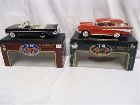 LOT OF 2 CHEVROLET DIECAST 1:18 CARS - 1959 IMPALA & 1957 NOMAD