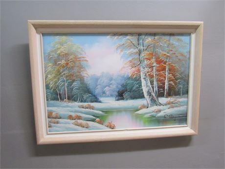 Framed Oil On Canvas Landscape - Signed