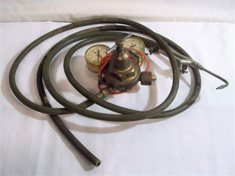 VINTAGE ACETYLENE TORCH WITH DOCKSON GAUGES