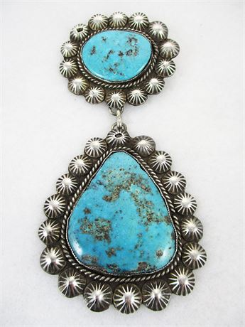 LARGE VINTAGE STERLING SILVER AND TURQUOISE PIN