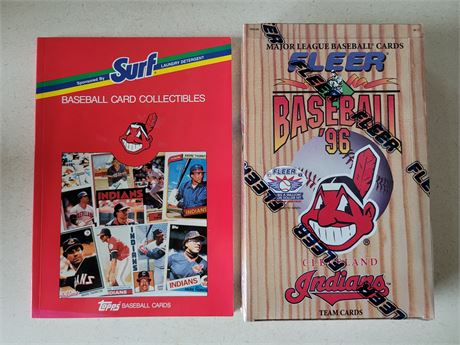 Cleveland Indians Topps Baseball Book w/ 1996 Fleer Indians Factory Sealed Box