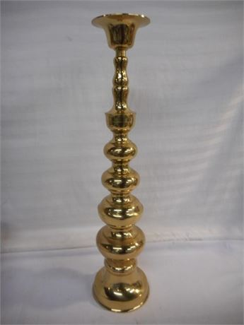 LARGE BRASS PLATE CANDLESTICK HOLDER