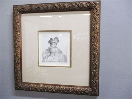 """""""MAN WITH FUR CAP"""" PRINT BY REMBRANDT"""