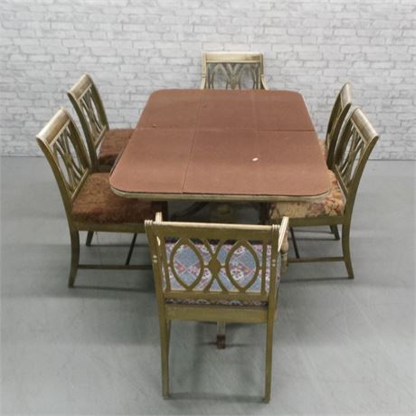 Double Pedestalled Dining table and 6 chairs