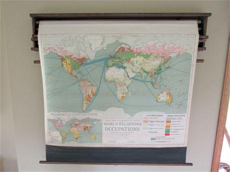 Vintage Wall Mount Maps - 4 Retractable Vintage Maps