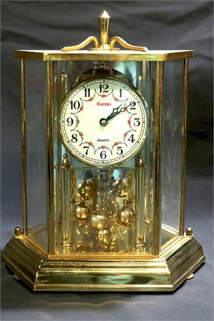 German Kundo Kieninger & Obergfell Hexagon Brass Glass Anniversary Clock
