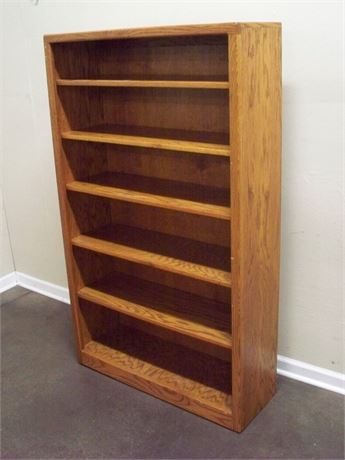OAK DISPLAY/BOOKCASE - 5 SHELVES