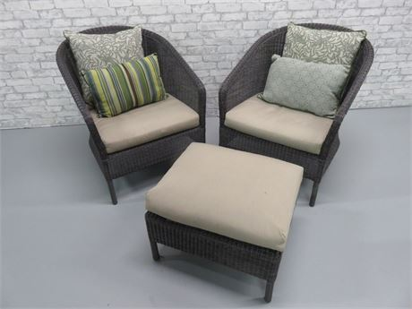 All-Weather Wicker Chairs/Ottoman Set