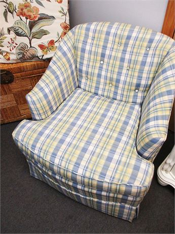 SWEET BLUE AND YELLOW PLAID SWIVEL ARM CHAIR