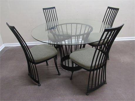 GLASS TOP METAL DINING TABLE WITH 4 CHAIRS