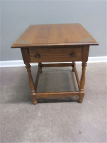 Cherry Finished Stenciled Top Side Table with 1 Drawer