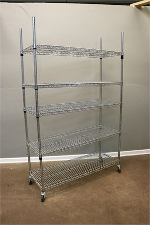 Silver Metal Shelving Unit, with 5 shelves