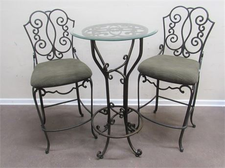 SMALL WROUGHT IRON BISTRO TABLE AND 2 CHAIRS