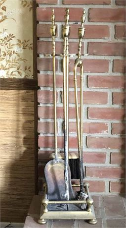 Brass Fireplace Tool Set with Stand