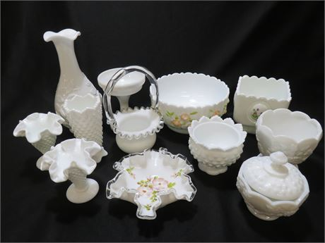 12-Piece Milk Glass Lot