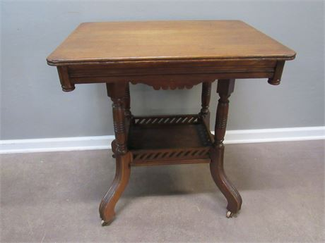 Antique Victorian Parlor/Side Table on Casters