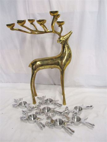 LOT OF REINDEER CANDLE DECOR