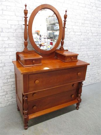 5-DRAWER CHERRY DRESSER WITH OVAL MIRROR
