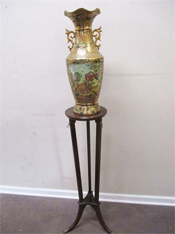 ASIAN VASE WITH BOMBAY COMPANY STAND