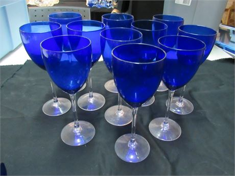 11 Piece Cobalt Blue Stemware Lot