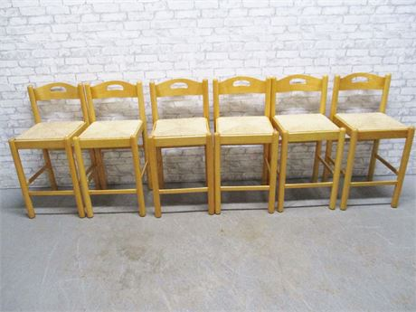 LOT OF 6 RUSH-SEAT BAR STOOLS