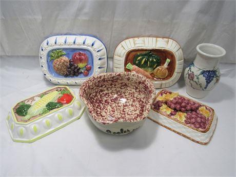 6 Piece Decorative Ceramic/Pottery Lot