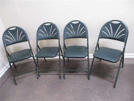 LOT OF 4 GREEN FOLDING CHAIRS