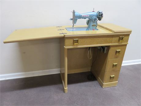 Vintage Mid-Century WHITE Sewing Machine