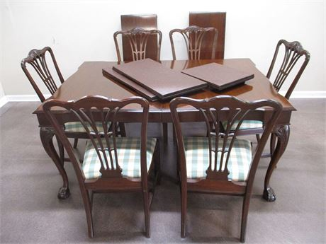 LOVELY CARVED DINING TABLE AND CHAIRS (WITH CUSTOM PADS AND LEAVES)