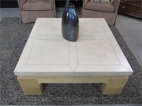 LARGE WOVEN/WICKER STYLE COFFEE TABLE WITH FAUX TILE TOP