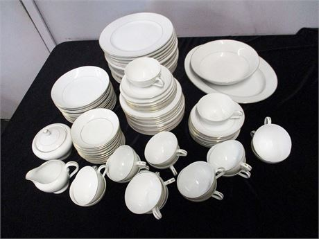 "8 PLACE SETTINGS EMBASSY ""TOUCH OF GOLD"" CHINA PLUS EXTRAS"