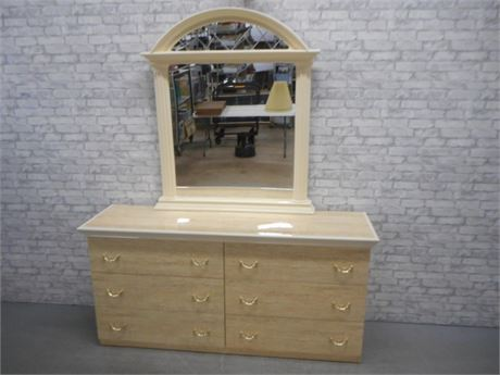 UNIQUE MODERN MARBLE LOOK LAMINATE DRESSER WITH MIRROR