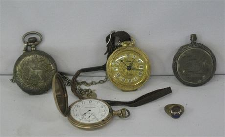 POCKET WATCH LOT - 3 ANTIQUE WATCHES PLUS A 1918 WWI AEF VETERANS RING
