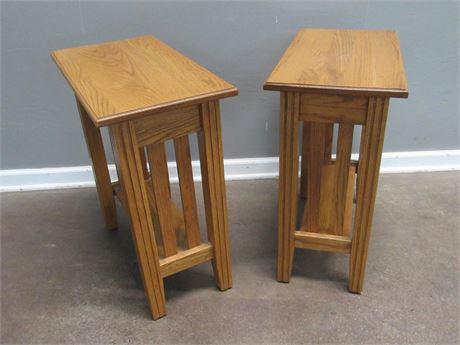 2 Narrow Oak Side Tables