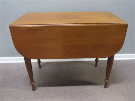 Antique Drop-leaf Cherry Dining Table with Drawer