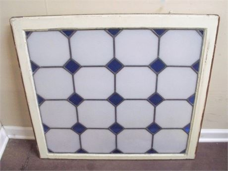 VINTAGE LEAD STAINED GLASS WINDOW
