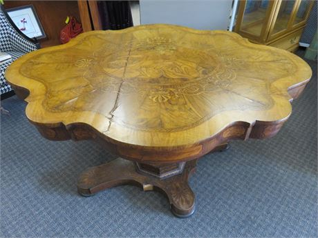 Antique Burled Walnut Inlaid Tilt Top Table - Samson & Delilah
